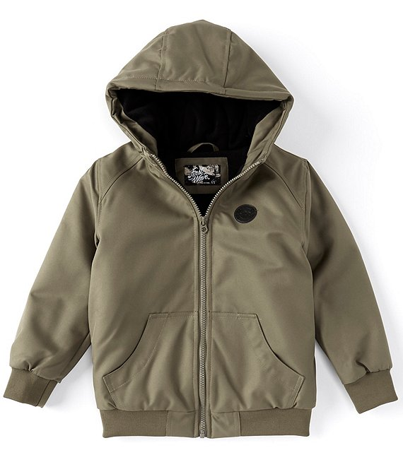 Color:Olive - Image 1 - Little Boys 2T-7 Hooded Twill Bomber