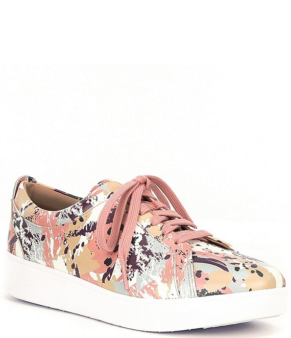Color:Rose Pink - Image 1 - Rally Splatter-Print Leather Wedge Sneakers