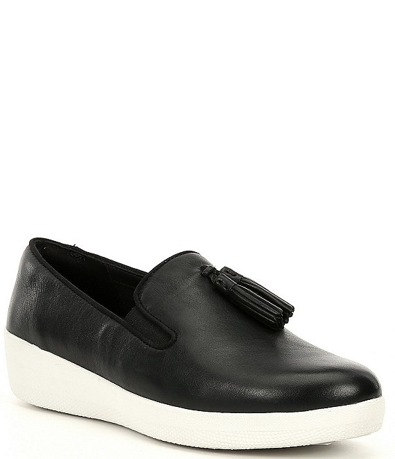 Color:Black - Image 1 - Tassel Superskate Leather Wedge Loafers