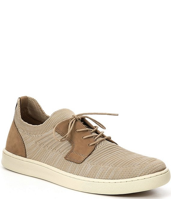 Color:Taupe - Image 1 - Men's Boardwalk Plain Toe Lace-Up Knit Sneakers