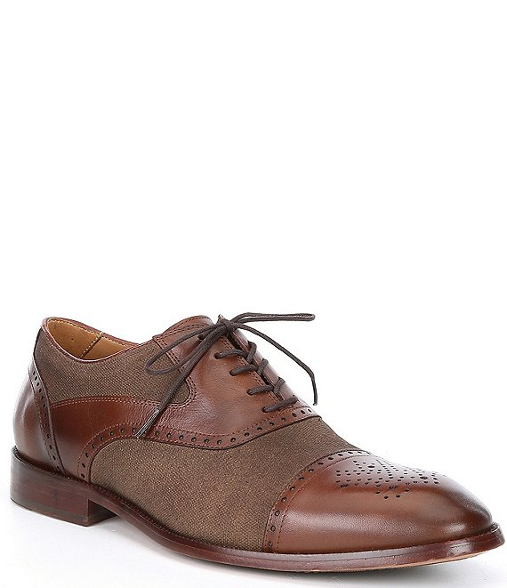 Color:Tan - Image 1 - Men's Hamilton Leather Canvas Cap Toe Dress Shoes
