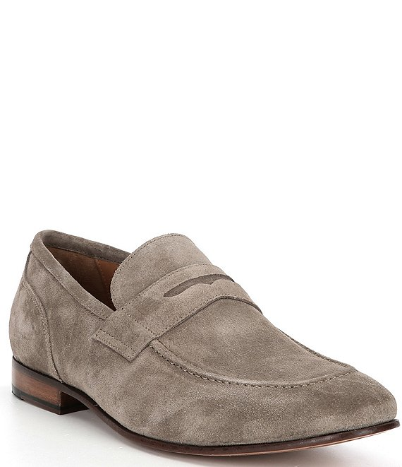 Color:Khaki - Image 1 - Men's Seneca Suede Leather Penny Loafers