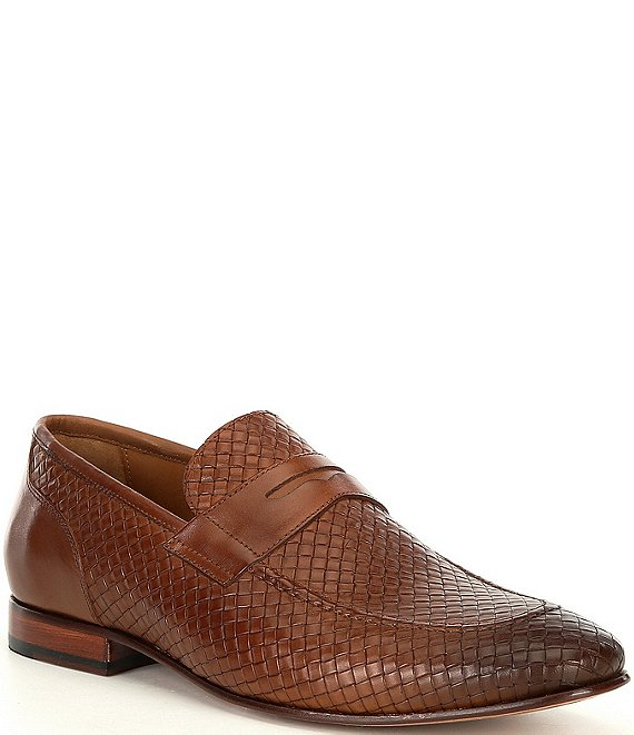 Color:Mahogany - Image 1 - Men's Seneca Woven Penny Loafers