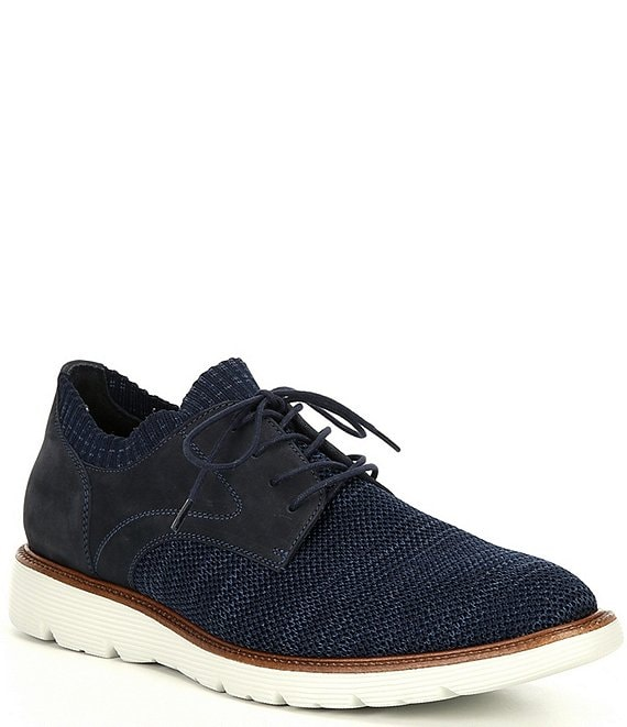 Color:Navy - Image 1 - Men's Shelby Plain Toe Knit Hybrid Casual Shoes