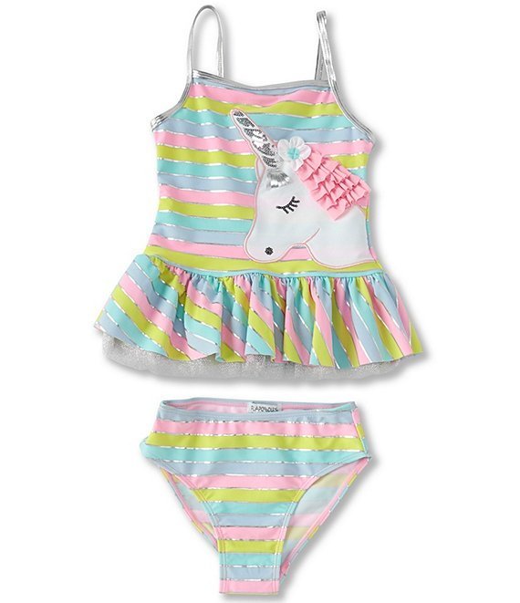 Color:Multi - Image 1 - Big Girls 7-10 Unicorn Tankini Top & Hipster Bottom Two-Piece Swimsuit