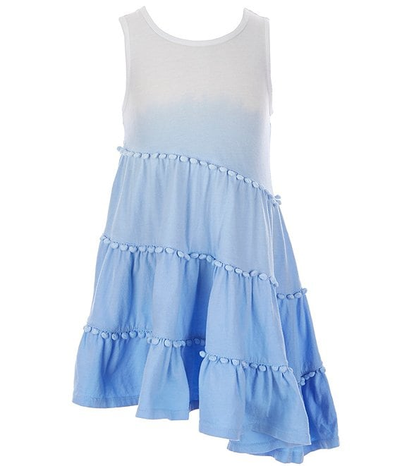 Color:Blue - Image 1 - Little Girls 2T-6X Ombre Tiered Asymmetrical-Hem Dress
