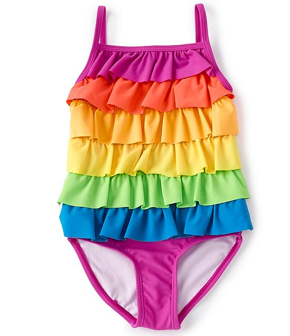 Color:Multi - Image 1 - Little Girls 2T-6X Rainbow Ruffled Tankini & Hipster Bottom Two-Piece Swimsuit