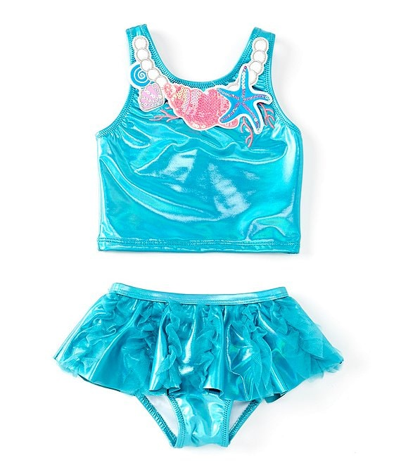 Color:Aqua - Image 1 - Little Girls 2T-6X Under The Sea Necklace Tankini & Skirted Bottom Two-Piece Swimsuit