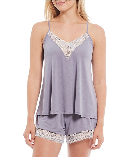 Color:Dapple Grey - Image 1 - Floretta Solid Knit Pajama Shorts Set