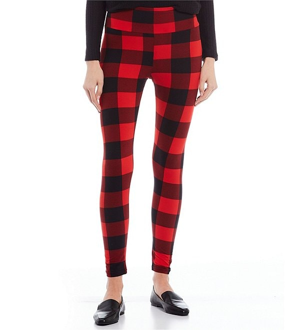Color:Red/Black - Image 1 - Buffalo Check Brushed High Rise Leggings