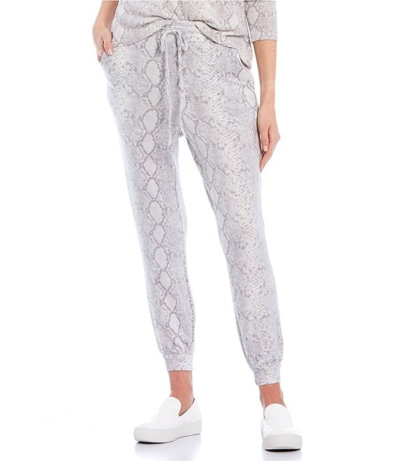 Color:Grey - Image 1 - Coordinating Snake Print Lounge Jogger Pants