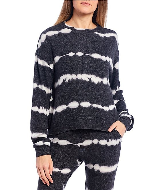 Color:Wave Tie Dye - Image 1 - Coordinating Tie-Dye Lounge Long Sleeve Pullover