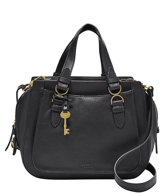 Color:Black - Image 1 - Brooke Leather Zippered Satchel Crossbody Bag