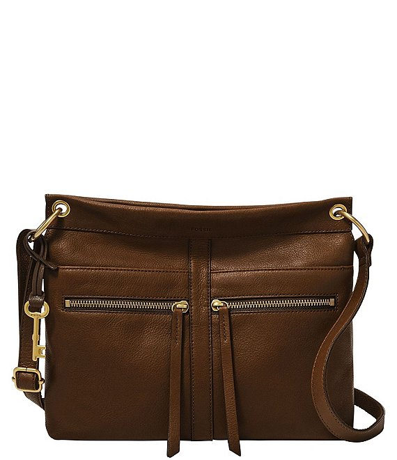 Color:Claret Red - Image 1 - Caitlyn Leather Crossbody Bag