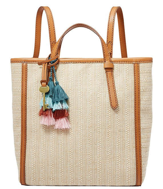 Fossil Camilla Small Straw Stripe Backpack