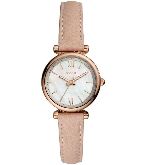 Color:Blush - Image 1 - Carlie Mini Three-Hand Blush Leather Watch