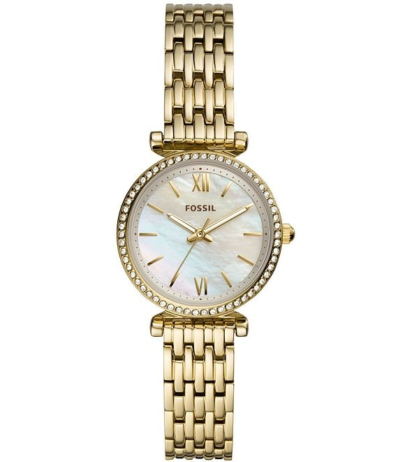 Color:Gold - Image 1 - Carlie Mini Three-Hand White Mother of Pearl Dial Gold-Tone Stainless Steel Watch