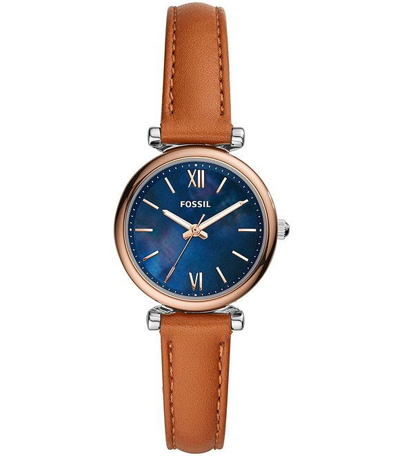 Color:Tan - Image 1 - Carlie Mini Three-Hand Tan Leather Watch