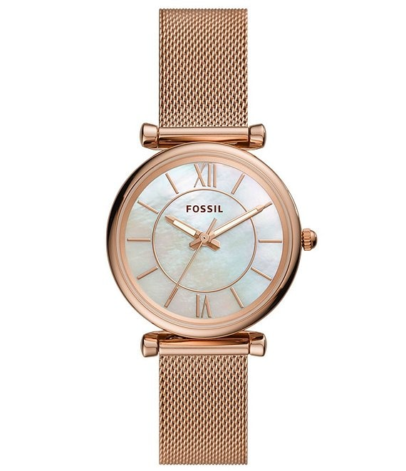 Color:Rose Gold - Image 1 - Carlie Three-Hand Rose Gold-Tone MOP Dial Mesh Bracelet Watch