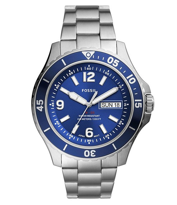 Color:Silver - Image 1 - FB-02 Three-Hand Date Blue Dial Stainless Steel Watch