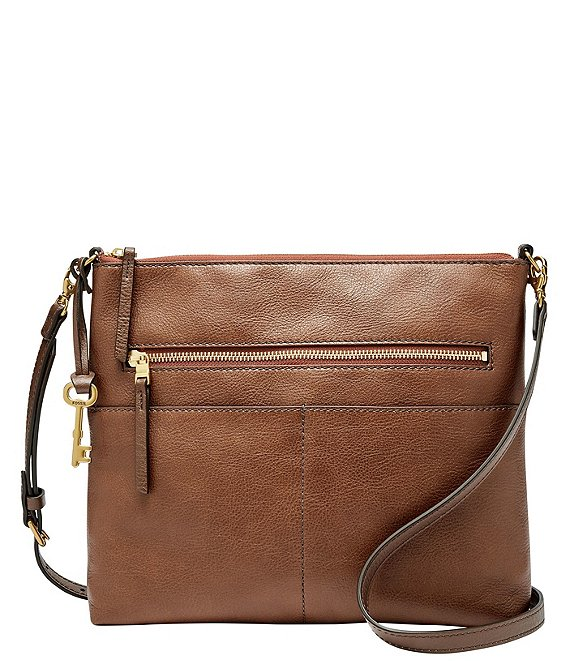 Color:Brown - Image 1 - Fiona Large Leather Crossbody Bag