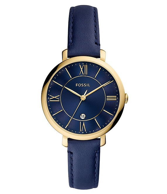 Color:Navy - Image 1 - Jacqueline 3-Hand Navy Leather Strap Watch
