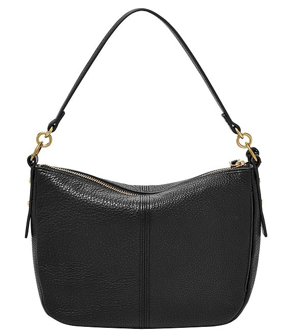 Color:Black - Image 1 - Jolie Zip Top Key Leather Crossbody Bag