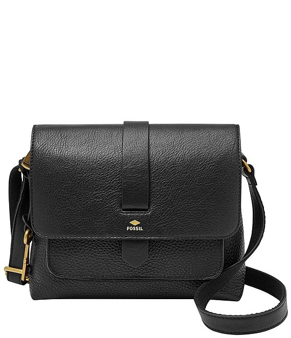 Color:Black - Image 1 - Kinley Small Fold Over Leather Crossbody Bag