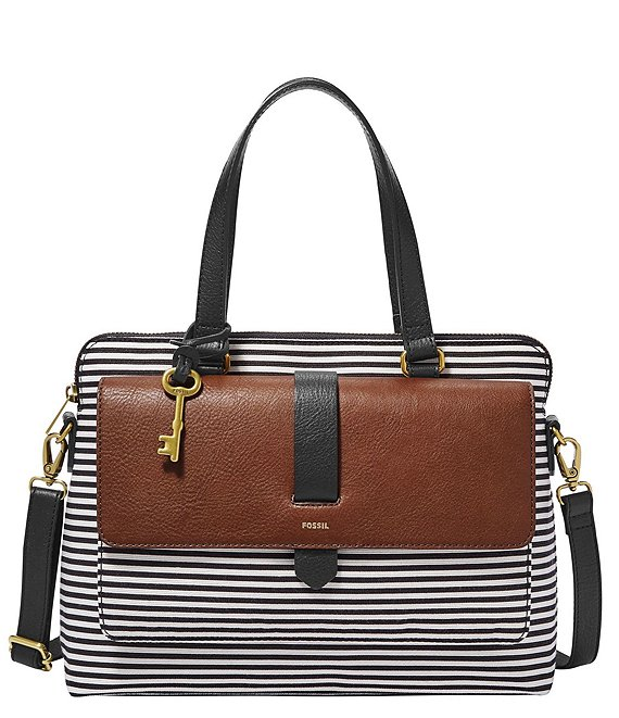 Fossil Kinley Stripe Satchel Bag
