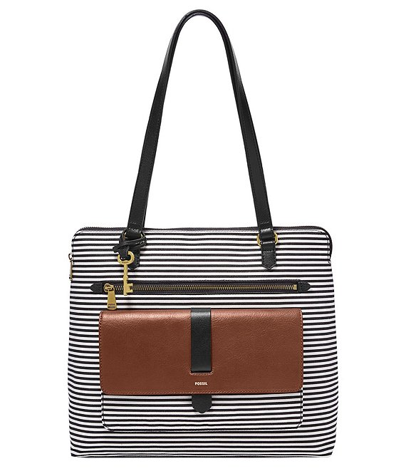 Fossil Kinley Top Handle Stripe Shopper Tote Bag