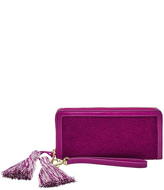 Color:Magenta Woven - Image 1 - Logan RFID Leather Zip Around Wristlet Wallet