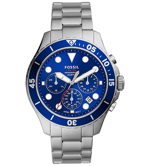Color:Silver - Image 1 - Men's FB-03 Chronograph Stainless Steel Blue Dial Watch