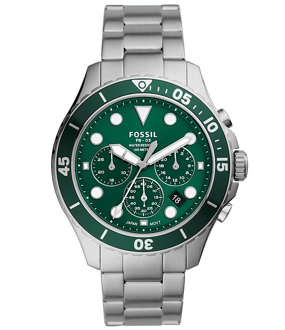 Color:Silver - Image 1 - Men's FB-03 Chronograph Stainless Steel Green Dial Watch