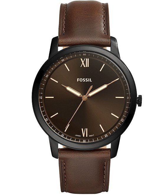 Color:Brown - Image 1 - Minimalist Three-Hand Brown Leather Strap Watch