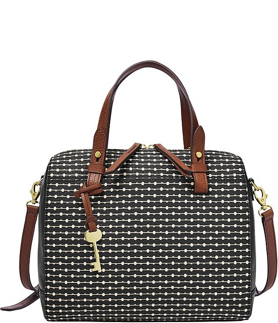 Color:Black Key Stripe - Image 1 - Rachel Stripe Satchel Bag