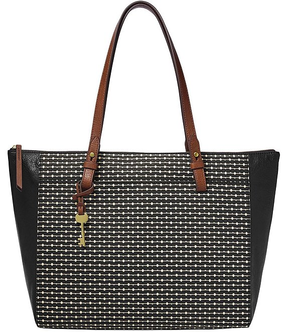 Color:Black Key Stripe - Image 1 - Rachel Stripe Zip Tote Bag