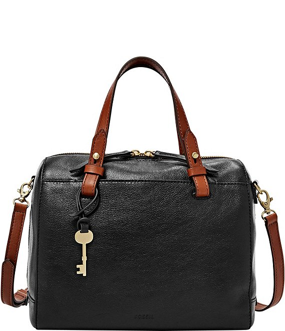 Color:Black - Image 1 - Rachel Zip Leather Satchel Bag