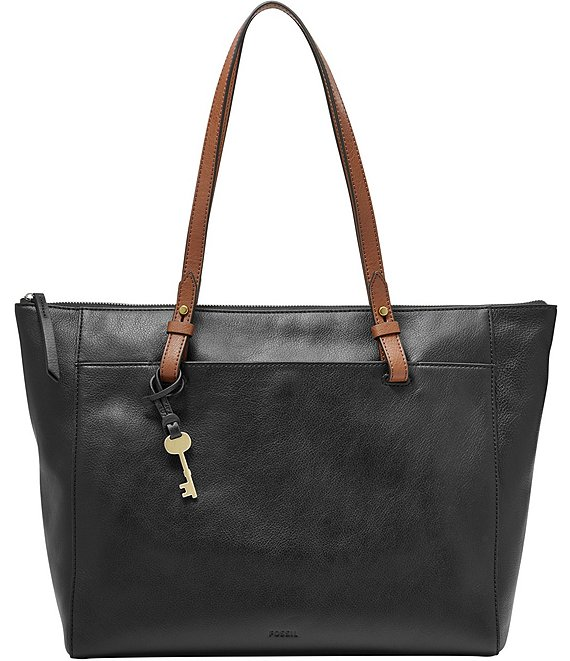 Color:Black - Image 1 - Rachel Zip Leather Tote Bag