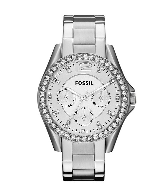 Fossil Riley Silver Glitz Crystal Detail Stainless Steel Bracelet Multifunction Watch