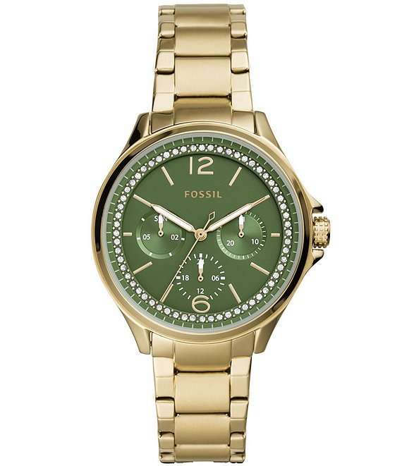 Color:Gold - Image 1 - Sadie Green Dial Gold Tone Stainless Steel Multifunction Watch