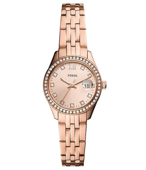 Color:Rose Gold - Image 1 - Scarlette Micro Three-Hand Date Rose Gold-Tone Stainless Steel Watch