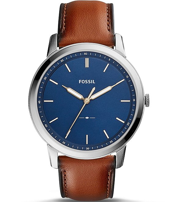 Color:Brown - Image 1 - The Minimalist Analog Leather-Strap Watch