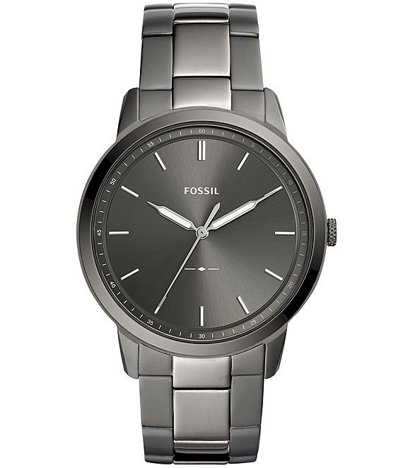 Color:Black - Image 1 - The Minimalist Three-Hand Smoke Stainless Steel Watch
