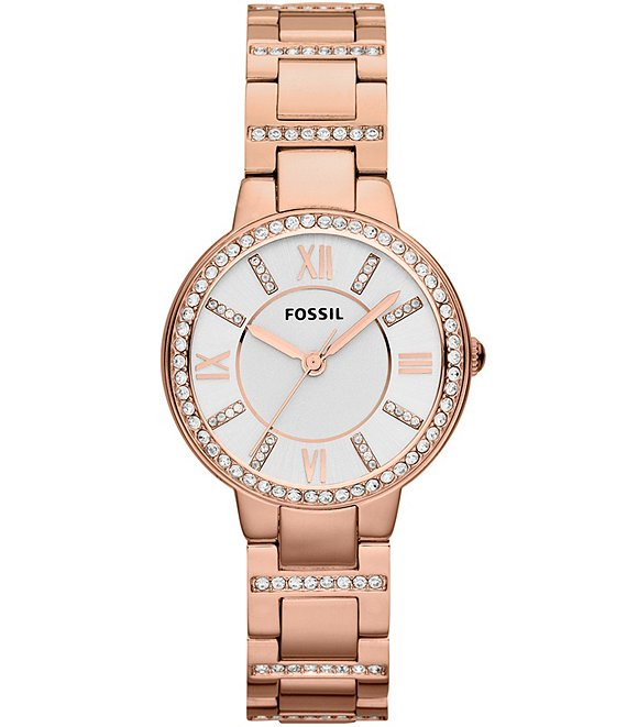 Fossil Virginia Rose Gold Stainless Steel Clear Stone 3 Hand Bracelet Watch