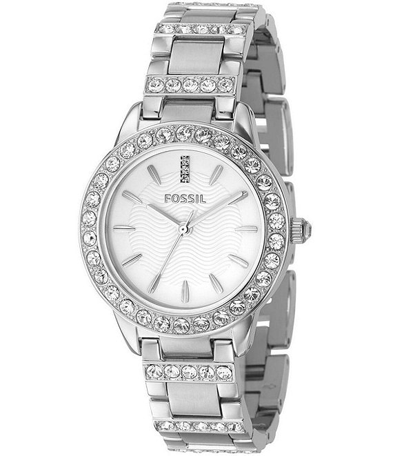 Fossil White-Dial Glitz Dress Watch