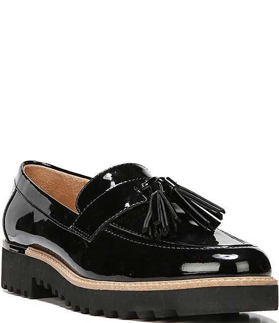 Color:Black - Image 1 - Carolynn Patent Tassel Lug Sole Loafers