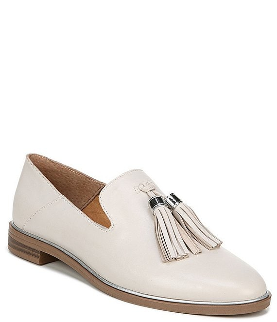 Franco Sarto Hadden Leather Tassel Round Toe Stacked Heel Loafers