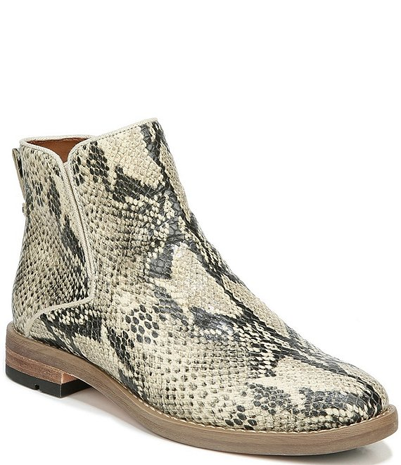 Color:Roccia - Image 1 - Marcus Snake Print Leather Block Heel Booties