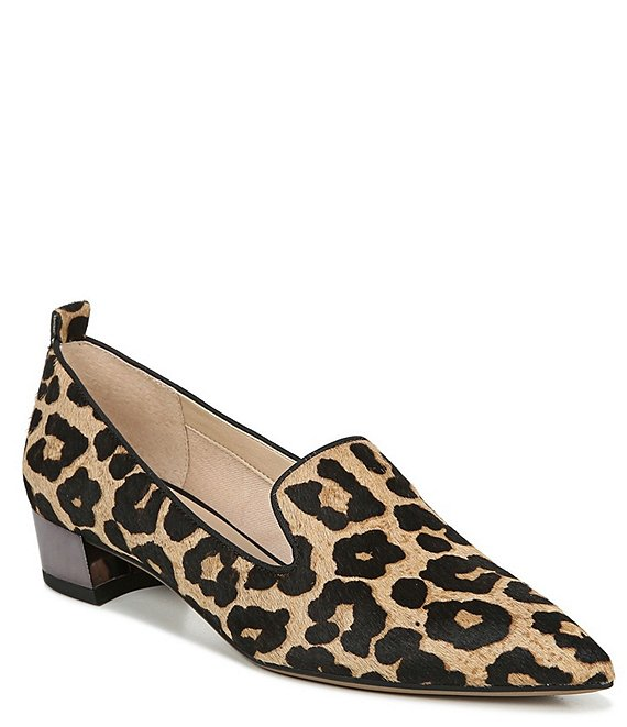 Franco Sarto Vianna Leopard Print Calf Hair Block Heel Loafer Pumps