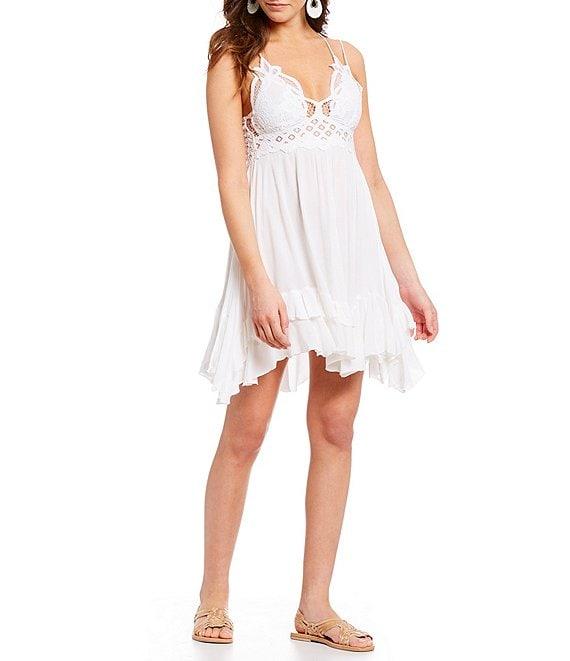 V Strap White Mini Dress